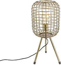 Modern table lamp tripod brass - Barir