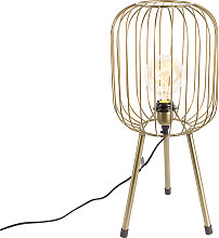 Modern table lamp tripod brass - Wire