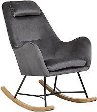 Modern Transitional Velvet Fabric Rocking Chair