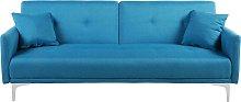 Modern Tufted Fabric Sofa Bed 3 Seater Sea Blue