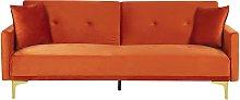 Modern Tufted Velvet Sofa Bed 3 Seater Orange