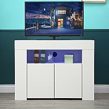 Modern TV Stand, TV Stand Cabinet, 34 Inch White