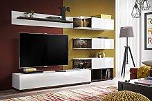 Modern TV Unit Cabinet Pearl High Gloss LED Light