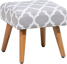 Modern Upholstered Footstool with Wooden Legs
