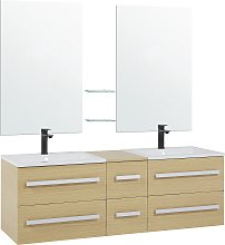 Modern Vanity Set White Double Sink 2 Mirrors