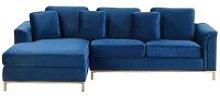 Modern Velvet Couch Corner Sofa Gold Legs Right
