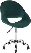 Modern Velvet Desk Chair Green Fabric Swivel