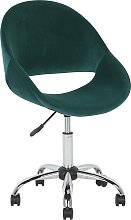 Modern Velvet Desk Chair Green Fabric Swivel