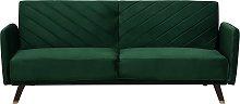 Modern Velvet Fabric Sofa Bed 3 Seater Emerald