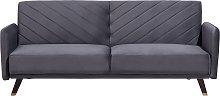Modern Velvet Fabric Sofa Bed 3 Seater Grey