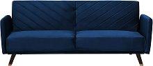 Modern Velvet Fabric Sofa Bed 3 Seater Navy Blue