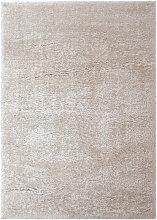 Modern Very Soft Velvet Shaggy Ivory Rug Deep Pile