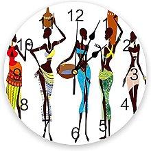 Modern Wall Clock African Women Bottle PVC Wall