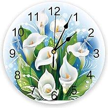 Modern Wall Clock Flower White Green Leaves