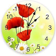 Modern Wall Clock Poppy Flower Daisy PVC Wall