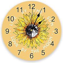 Modern Wall Clock Sunflower And Moon Yellow PVC