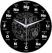 Modern Wall Clock with Chemistry Science Periodic
