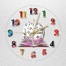 Modern wall clock with colored books and musical