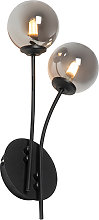 Modern wall lamp black 2-lights with smoke glass -