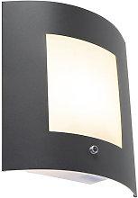 Modern Wall Lamp Dark Grey IP44 with Twilight