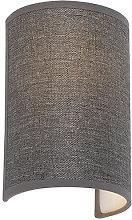 Modern wall lamp gray - Simple Drum Jute