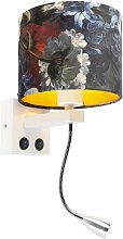 Modern wall lamp white with shade velor flowers -
