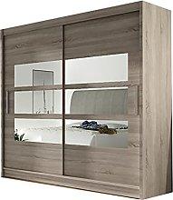 Modern Wardrobe 2 Sliding Doors Mirror Bedroom