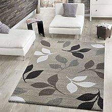 Modern Woven Rug Short Pile With Leaf Design