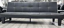 MODERNIQUE Black Faux Leather 3 Seater Sofa Bed, 3