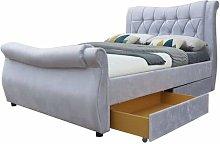MODERNIQUE® Monocco Silver Velvet High Base Bed