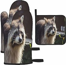 MODORSAN Brown and Beige Raccoon Oven Mitts and