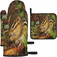 MODORSAN Brown and Beige Squirrel Oven Mitts and
