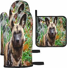 MODORSAN Brown and Black Wild Dog Oven Mitts and