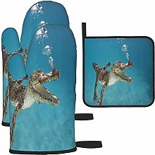 MODORSAN Brown Crocodile Underwater Oven Mitts and