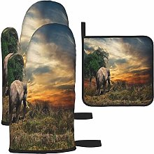 MODORSAN Brown Elephant Trees Grass Oven Mitts and