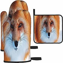 MODORSAN Brown Fox Oven Mitts and Pot Holders Non