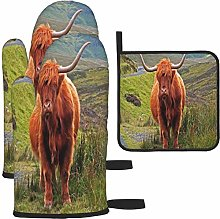 MODORSAN Brown Highland Cattle Oven Mitts and Pot