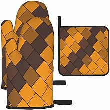 MODORSAN Brown Square Oven Mitts and Pot Holders