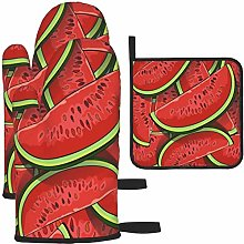 MODORSAN Cartoon Red Watermelon Oven Mitts and Pot