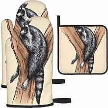 MODORSAN Carved Raccoon Oven Mitts and Pot Holders