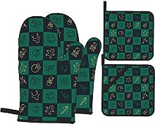 MODORSAN Christmas Green and Gold Oven Mitts and