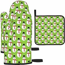 MODORSAN Christmas Snowman Cute Oven Mitts and Pot