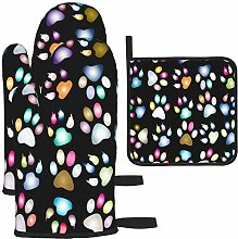 MODORSAN Colorful Dog Paw Print Oven Mitts and Pot