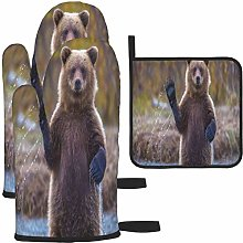 MODORSAN Cute Brown Bears Oven Mitts and Pot