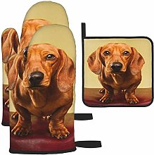 MODORSAN Cute Brown Dachshund Oven Mitts and Pot