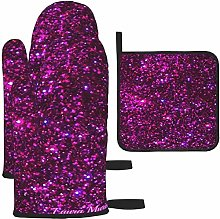 MODORSAN Dark Purple Sparkle Oven Mitts and Pot