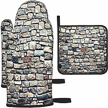 MODORSAN Gray and Brown Brick Wall Oven Mitts and