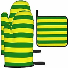MODORSAN Green and Yellow Stripes Oven Mitts and