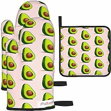 MODORSAN Green Avocado Pattern Oven Mitts and Pot