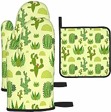 MODORSAN Green Cactus Oven Mitts and Pot Holders